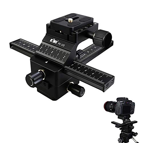 Kiwifotos Camera Macro Focusing Rail Slider with Arca Type Quick Release for Canon 6D Mark II 7D Mark II 5D Mark IV III 80D 70D Rebel T7 T6 T7i T6i Nikon D850 D7500 D5600 D5500 D3400 D3300 and More