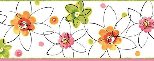 Chesapeake BBC94031B Butterbean Crazy Daisies Toss Wallpaper Border, Pink