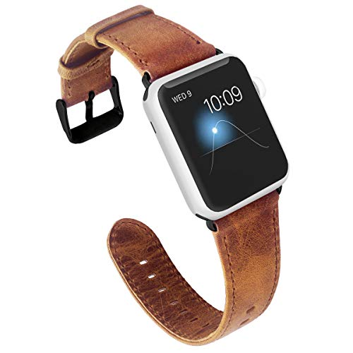 KADES for Apple Watch Band 38mm, Leather for Apple Watch Band 40mm Series 4 iWatch Bands 38mm (Brown with Black - Band Leather Brown Gold