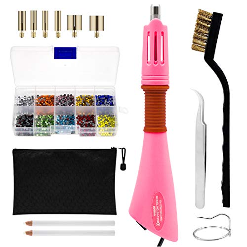 Rhinestone Hotfix Applicator Full Set - DIY Rhinestone Setter Kit Include 7 Different Sizes Tips, Tweezers & Brush Cleaning kit, 2 Pencils, and Hot-Fix Crystal Rhinestones (10 Colors Rhinestone) ()