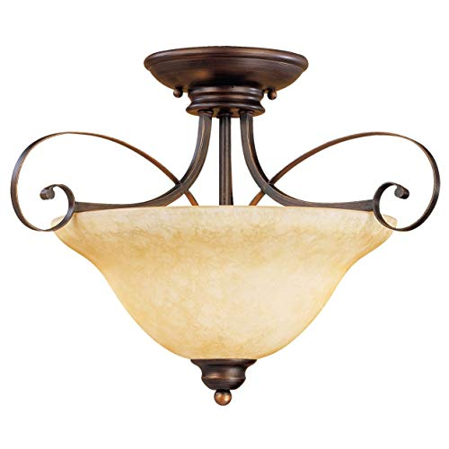 Millennium Ceiling 1052-RBZ Two Light Semi-Flush Bowl Mount with Bronze Finish, Dark