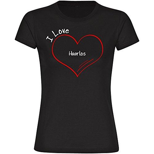 T-Shirt Modern I Love Haarlos schwarz Damen Gr. S bis 2XL