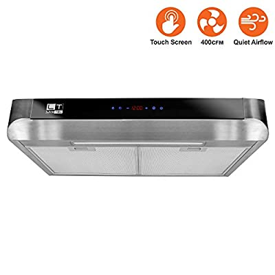 BV Stainless Steel 30-Inch Under Cabinet Kitchen Range Hood 400 CFM with LED lights and Touch Screenl Control