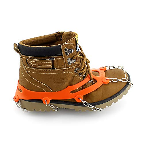 Ice Cleat Crampons And Tread ,Cleats for Walking, or Hiking on Snow and Ice,Cleat Over Shoe/Boot Anti Slip 10 Steel Crampon Slip-on Stretch Footwear (Orange, Large (US WOMEN:11-14/ MEN:8.5-13)) ()