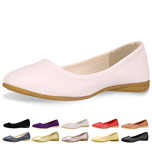 CINAK Flats Shoes Women- Slip-on Ballet Comfort Walking Classic Round Toe Shoes (8-8.5 B(M) US/ CN40 / 9.84'', -