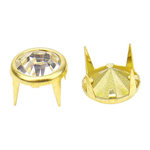 Monrocco 100 Pcs 10mm Gold 4 Prongs Rivets with Rhinestones Clear Glass Crystal Rivets Beads Spikes for Leather Clothes Shoes Bags ()