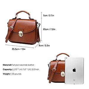 BOYATU Womens Leather Handbags Shoulder Bag Top Handle Tote Satchel for Ladies (Brown-B)