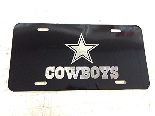 Hammett Holdings Dallas Cowboys Car Tag Diamond Etched on Black Aluminum License Plate