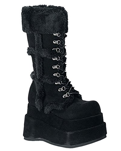 4 1/2 Inch Stacked Platform Calf Boots Costumes Black Veg Suede Shoes Faux Fur Size: 11 Demonia Fur Boots