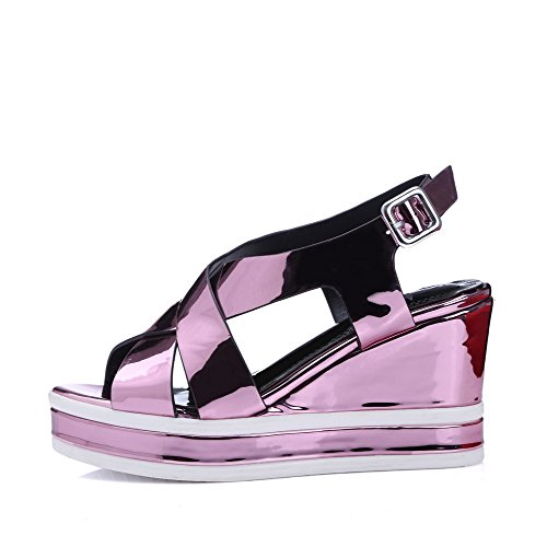 AmoonyFashion Womens Solid Pu High-Heels Open Toe Buckle Sandals Lightpurple oNpgi