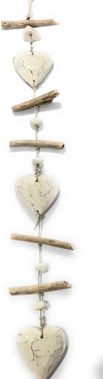 "Tikimaster Driftwood Garland Hearts w/White Stone 40"" White - Cottage Accents | #lis31006100w"