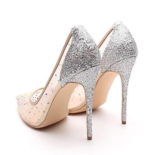 HCBYJ die Absätze der High Heels Absatzfrauen Absätze Bling zeigten Partei Hochzeitsschuhe Schuhe der Hohen Silberne Absätze Flache Rhinestone 12cm die Hohen Hohen glätten grqgX