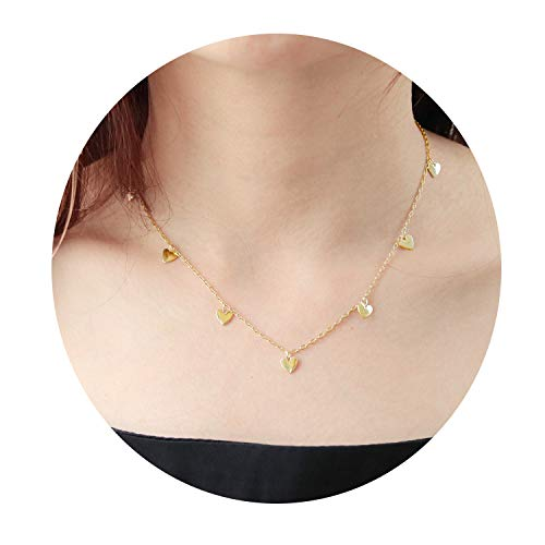 Eivanc Heart Piece Layered Metal Choker Necklace Handmade 18K Gold Zircon Gold Delicate Heart and Bar Bead Necklace Chokers Necklace