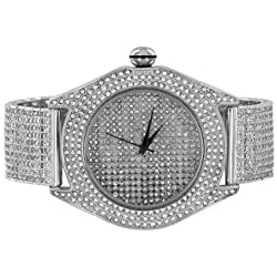 Fully Iced Out Techno Pave Simulated Diamond White Gold Finish Mens Steel Watch