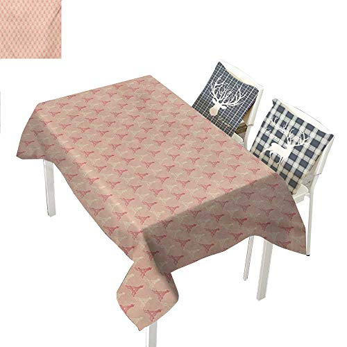 WilliamsDecor Paris Waterproof Table Cloth Soft Colors Eiffel Tower Pattern France Landmark Repetitive DesignPeach Pale Yellow Dark Coral Rectangle Tablecloth W60 xL84 inch