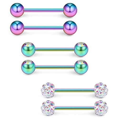 Ruifan 16G 9/16Inch Crystal & Jeweled CZ Ball Nipple Tongue Shield Ring & Stainless Steel Straight Barbell Body Piercing Jewelry Retainer 6PCS - Rainbow