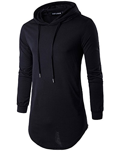 f1a7467ad WHATLEES Mens Basic Hip Hop Long Sleeve Longline Hoodie T Shirt Tops with  Side Zipper T29-Black Small