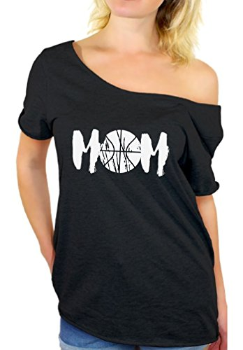 Awkward Styles Women's Basketball MOM Sport Mom Graphic Off Shoulder Tops T Shirt White Mother's Day Gift Idea Black L