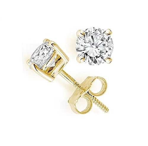 PARIKHS Round Diamond stud Plus Quality Screw Back 14K Yellow Gold (0.15 ctw) (Ct 0.075 Diamond)