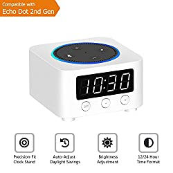 Desk Clock for Echo Dot 2nd Generation, Echo Dot Holder Stand Docking Station with LED Clock, Bedside Clock for Smart Home Alexa, Saving Space on Nightstand or Tables (White)