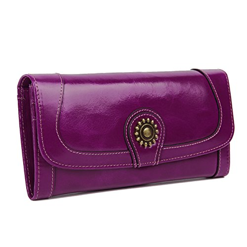 Lecxci Woman's Genuine Leather Checkbook Wallet Cell Phon...