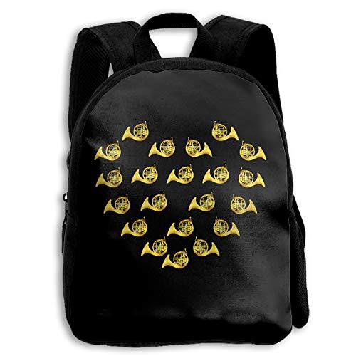 (Sheridan Reynolds French Horn Heart Golden Kids Backpack Boys' Girls' School Bookbag for Children)