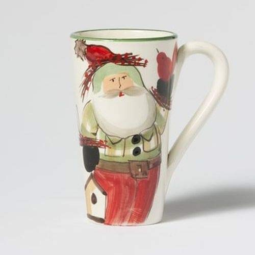 (Vietri Old St. Nick Latte Mug, Earthen Drinkware, Santa & A Red Bird)