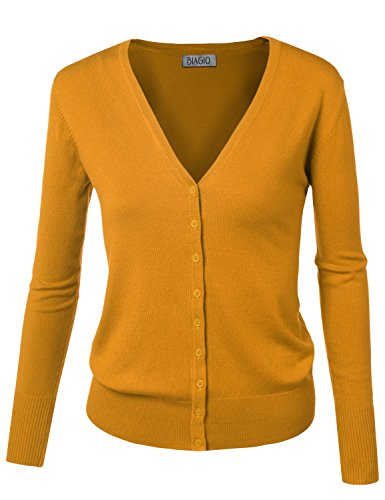 BIADANI Women Button Down Long Sleeve Soft V-Neck Cardigan Sweater Mustard Large