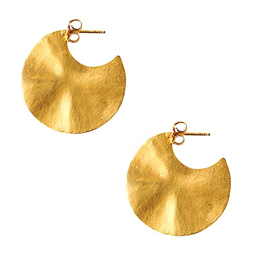 - Chan Luu Hammered Cymbal Hoop Earrings Satin Finish Gold Vermeil