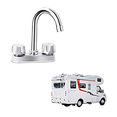 RV Non-metallic Kitchen Faucet Two Handle-High Arch-360 Swivel Replace For Motorhomes, Travel Trailers,Campers