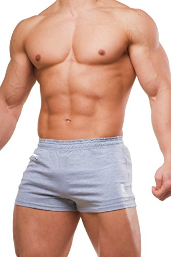 JJ Malibu Men's Athletic Low Rise Casual Running Short Shorts With 1 Side Pocket, Large, Light Grey (Short Rise Low Workout)