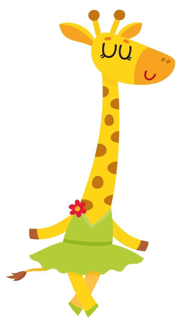 Wandtattoo Kinderzimmer Musik Wandsticker Farbige Giraffe als Balletttänzerin M