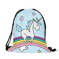 Emoji Licorne Pikachu Pokémon Bulk Sac à cordon Sac à dos Cadeau surprise de fête Movie Gym PE d'école de natation (1x Bleu et blanc Licorne sur arc-en-ciel avec cœurs)