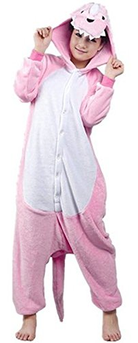 ABING Halloween Pajamas Homewear OnePiece Onesie Cosplay Costumes Kigurumi Animal Outfit Loungewear,Pink Dinosaur Adult L -for Height (Fun Couple Halloween Costumes)