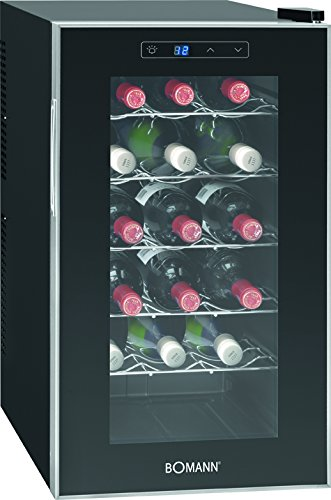 Bomann KSW 345 Weinkühlschrank Freistehend/B / 189 kWh/Jahr / 63.6 cm / 18 Flaschen/elektronische Temperatursteuerung und -einstellung/schwarz [Energieklasse B]
