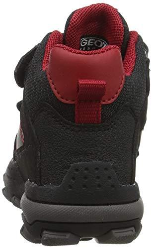 Geox Jungen J BULLER Boy B ABX E Hohe Sneaker, Schwarz (Black/Dk Red C0260), 24 EU 3