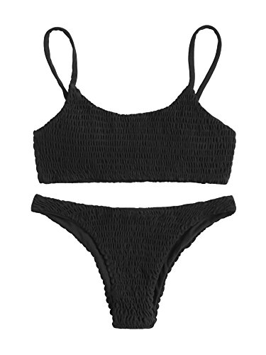 SweatyRocks Women's Sexy Bathing Suit Solid Color Halter Shirred Bikini Swimsuit Black L