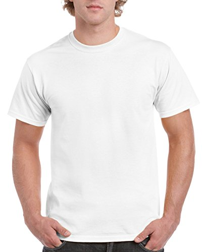 Gildan Men's Ultra Cotton Tee, White, Medium (Plain White Tees T-shirts)