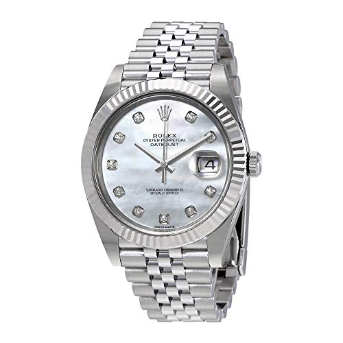 Rolex Oyster Perpetual Datejust White Mother of Pearl Diamond Dial Mens Watch 126334MDJ