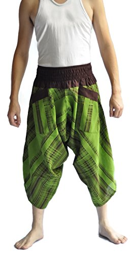 Siam Trendy Men's Japanese Style Pants One Size Green Jananese design by Siam Trendy