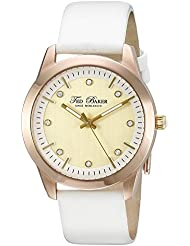 Ted Baker Womens TE2103 Dress Sport Gold Dial Rose Gold Case White Strap Watch