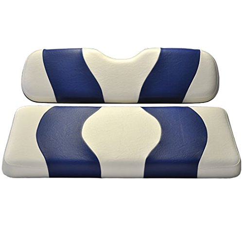 (Madjax Wave 1994-Up White/Blue Two-Tone Front Seat Cover for EZGO TXT and RXV Golf Carts)