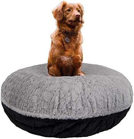 BESSIE AND BARNIE Signature Serenity Grey Black Puma Luxury Extra Plush Faux Fur Bagel Pet Dog Bed Multiple Sizes