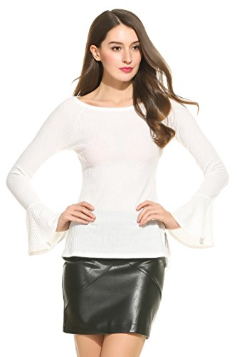 Zeagoo Women's Plus Size Long Bell Sleeve Thin Ribbed Knit Pullover Sweater Top,White,Small