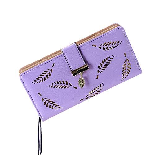 (Women's Long Leaf Bifold Wallet Leather Card Holder Purse Zipper Buckle Elegant Clutch Wallet Handbag (Purple))