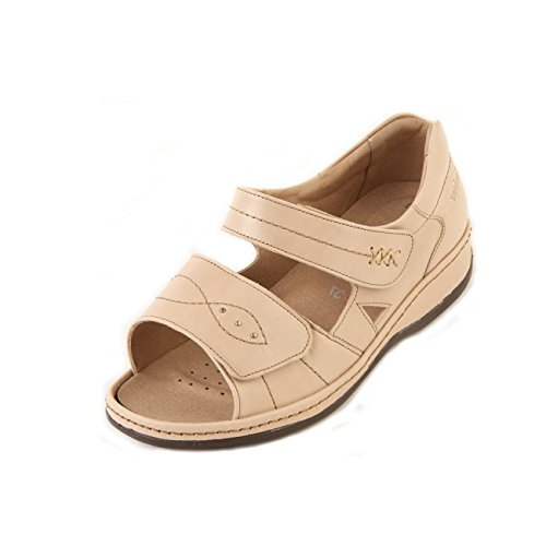 Extra Extra In Leather Lining Fit Touch Wide Sandal 'Cilla' Fastening Heel 6E Long Women's Stone Back Sandpiper Twin qxZB0wSx