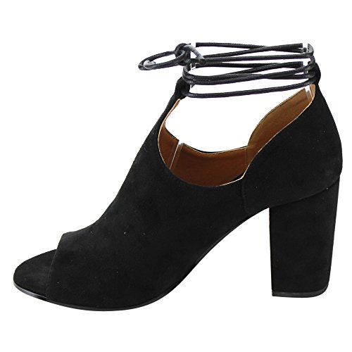 BETANI FD15 Womens Lace Up Side Cutout Block Heel Ankle Booties Ankle Bootie
