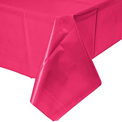 Creative Converting Touch of Color 54-Inch x 108-Inch Plastic Table Cover, Hot Magenta (Pack of 2) by Creative Converting