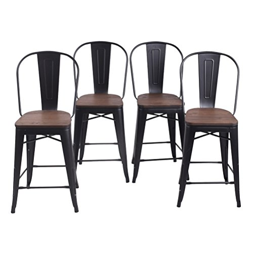 Changjie Furniture 24 Inch High Back Metal Bar Stool for Indoor-Outdoor Kitchen Counter Bar Stools Set of 4 ¡ (24 inch, High Back Matte Black Wooden) (Counter Stools Bar And)