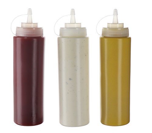 (3pk) 20 oz Plastic Squeeze Squirt Condiment Bottles with Twist On Cap Lids - top dispensers for ketchup mustard mayo hot sauces olive oil - bulk clear bpa free bbq set